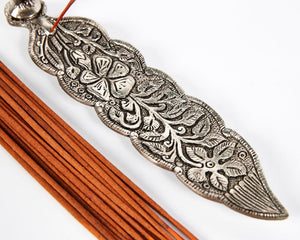 Silver Long Leaf With Owl Incense Holder image 3