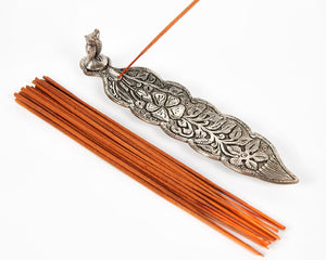 Silver Long Leaf With Owl Incense Holder image 1