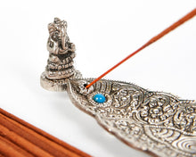 Load image into Gallery viewer, Silver Long Leaf With Ganesh Incense Holder image 2