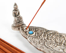 Load image into Gallery viewer, Silver Long Leaf With Sitting Buddha Incense Holder image 2