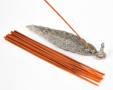 Load image into Gallery viewer, Silver Long Leaf With Sitting Buddha Incense Holder image 5