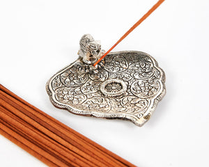 Silver Wide Leaf Plate With Elephant Incense Holder image 1