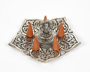 Ganesh Pointed Leaf Aluminium Incense Holder image 3