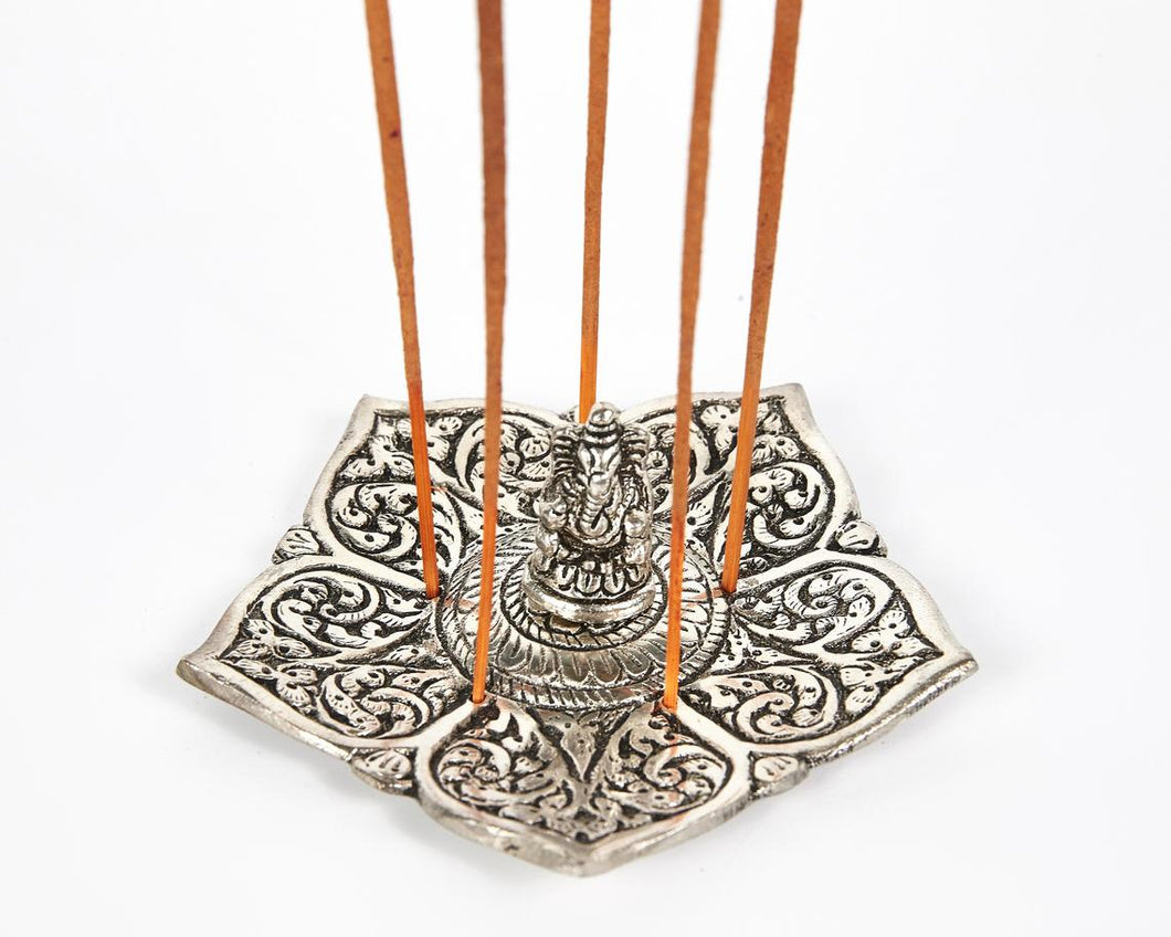 Ganesh Pointed Leaf Aluminium Incense Holder image 1