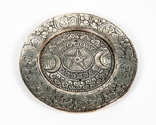 Load image into Gallery viewer, Triple Moon Round Plate 2 Hole Aluminium Incense Burner image 4