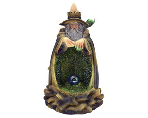 Green Light Up Wizard & Crystal Ball Backflow Incense Burner, Back flow Holder. 12 Free Natural, Eco Friendly Vegan Backflow Incense Cones