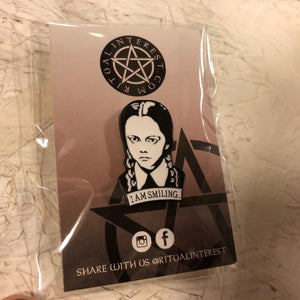 3 For 2 - Wednesday Addams I Am Smiling Enamel Pin - Black & Silver Plated Pin, Label Pin, Hard Enamel Pin, Cloisonné, Pin Badge, Pins