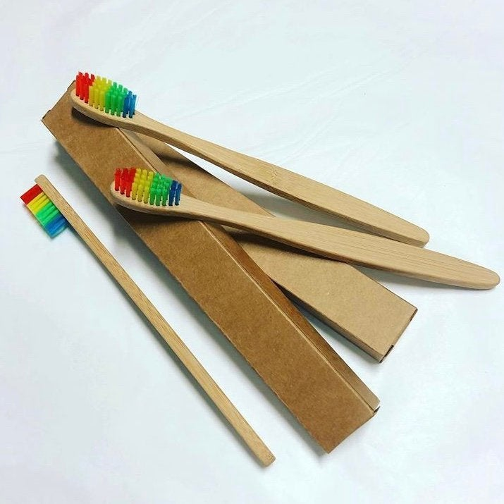 Natural Rainbow Coloured Bamboo Toothbrushes