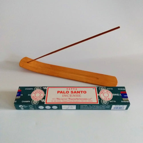 FREE Palo Santo boxed Incense included. Natural, Eco Friendly Bamboo Incense Holder / Incense Burner Ash Catcher With Free Satya Incense