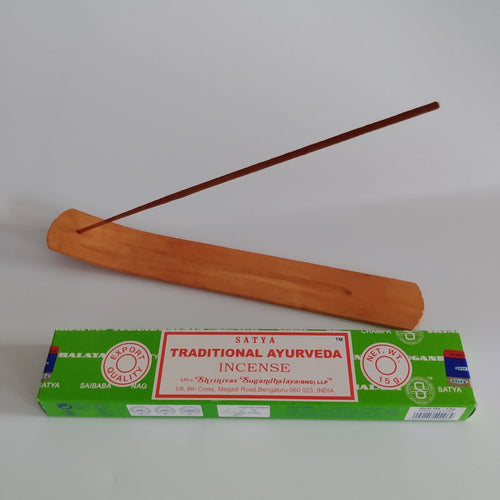 FREE Traditional Ayurveda boxed Incense Included. Natural Eco Friendly Bamboo Incense Holder Incense Burner Ash Catcher + Free Satya Incense