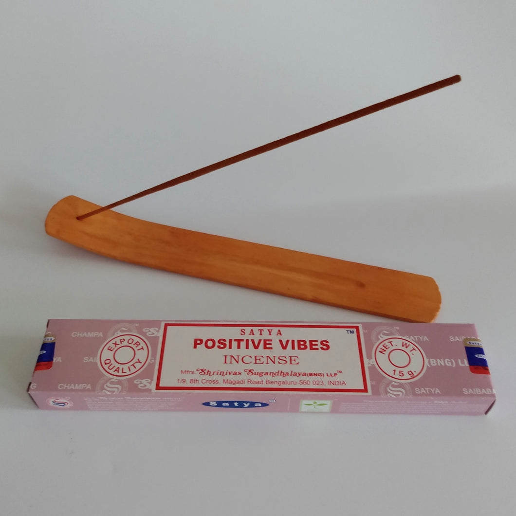 FREE Positive Vibes boxed Incense included. Natural Eco Friendly Bamboo Incense Holder Incense Burner Ash Catcher With Free Satya Incense