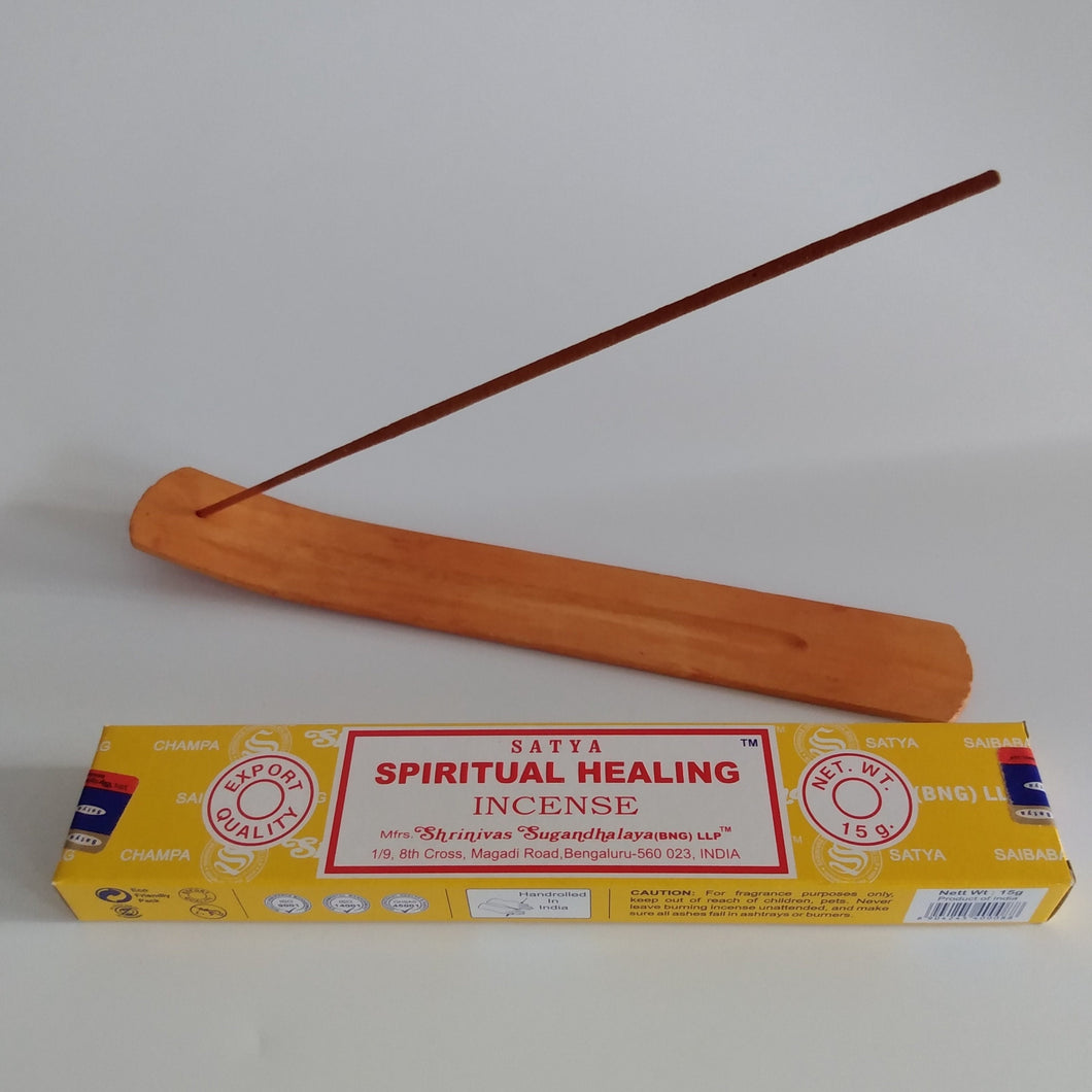 FREE Spiritual Healing boxed Incense Included. Natural Eco Friendly Bamboo Incense Holder Incense Burner Ash Catcher With Free Satya Incense