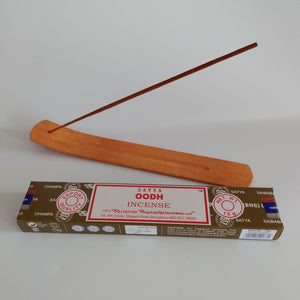 FREE Oodh boxed Incense included. Natural Eco Friendly Bamboo Incense Holder Incense Burner Ash Catcher With Free Satya Incense Sticks