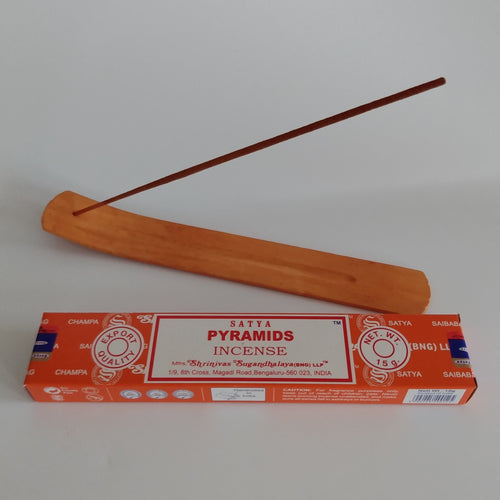 FREE Pyramids boxed Incense included. Natural Eco Friendly Bamboo Incense Holder Incense Burner Ash Catcher With Free Satya Incense Sticks