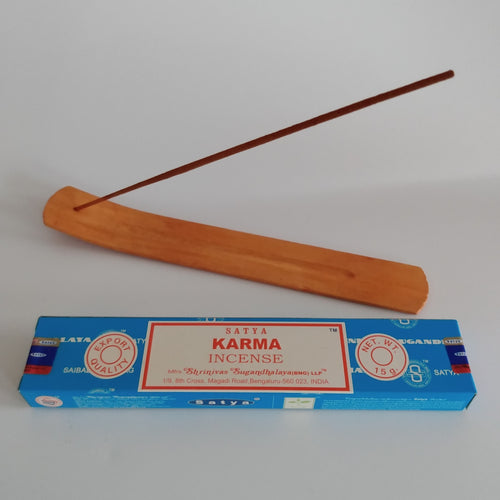 FREE Karma boxed Incense included. Natural Eco Friendly Bamboo Incense Holder Incense Burner Ash Catcher With Free Satya Incense Sticks