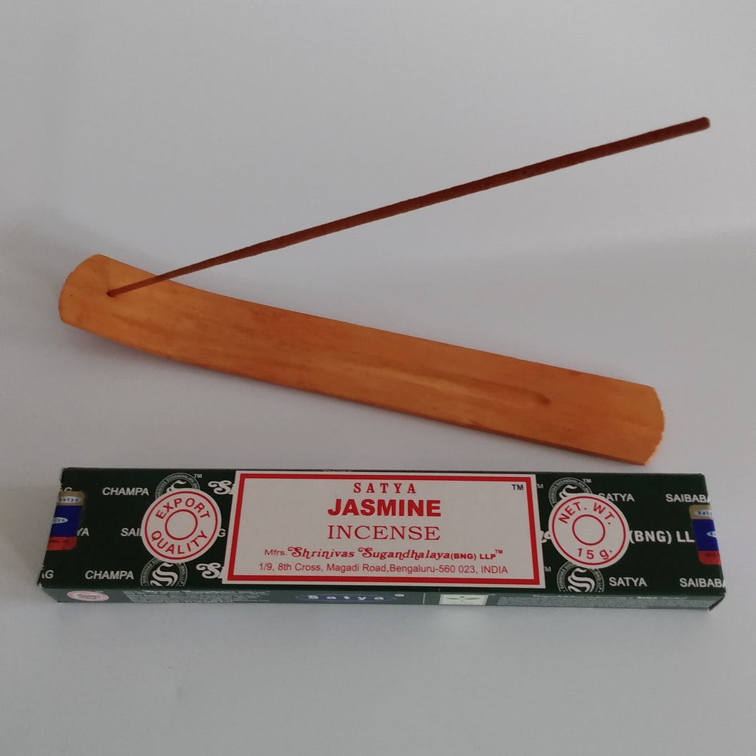 FREE Jasmine boxed Incense included. Natural Eco Friendly Bamboo Incense Holder Incense Burner Ash Catcher With Free Satya Incense Sticks