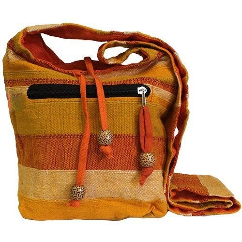 Orange Handmade Pure Cotton Sling Shoulder Bag