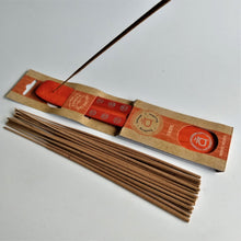 Load image into Gallery viewer, Orange Sacral Chakra Natural, Eco Friendly Bamboo Incense Holder / Incense Burner Ash Catcher With 20 Free Vegan Friendly Incense Sticks
