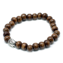 Load image into Gallery viewer, Brown Beads Buddha Bracelet, Bangle Jewelry. Metal Buddha Charm Bangle Jewellery Bracelet. Natural, Fair Trade Eco Friendly, Wooden Bracelet