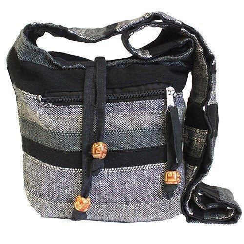 Black Handmade Pure Cotton Sling Shoulder Bag