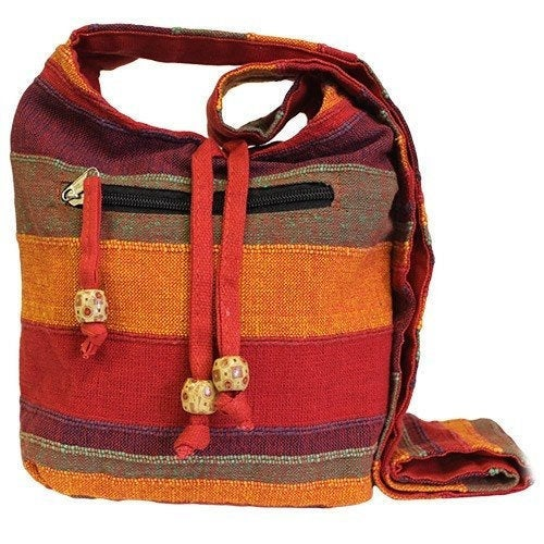 Red Handmade Pure Cotton Sling Shoulder Bag