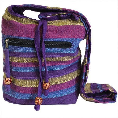 Purple Handmade Pure Cotton Sling Shoulder Bag