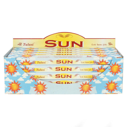 Sun 25 Pack Boxed Tulasi Incense, Display Box, Gift Set, Natural, Eco, Incense Sticks, Incense Holder, Incense Burner, Ash Catcher, Bulk