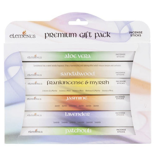 Elements Premium Incense Stick Gift Pack, Display Box, Natural Eco Incense Sticks, Incense Holder, Incense Burner, Ash Catcher, Bulk Incense