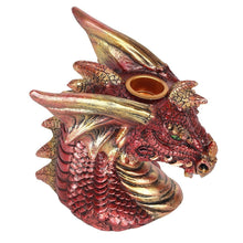 Load image into Gallery viewer, Red Dragon Head Backflow Incense Burner, Back flow Incense Holder. 12 Free Natural, Eco Friendly Vegan Backflow Incense Cones. Dragon Statue
