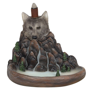 Grey Wolf Cliff Backflow Incense Burner, Back flow Incense Holder. 12 Free Natural, Eco Friendly Vegan Backflow Incense Cones. Dragon Statue