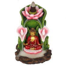 Load image into Gallery viewer, Large Colorful Buddha Statue Backflow Incense Burner Back flow Incense Holder. 12 Free Natural Eco Friendly Vegan Backflow Incense Cones.