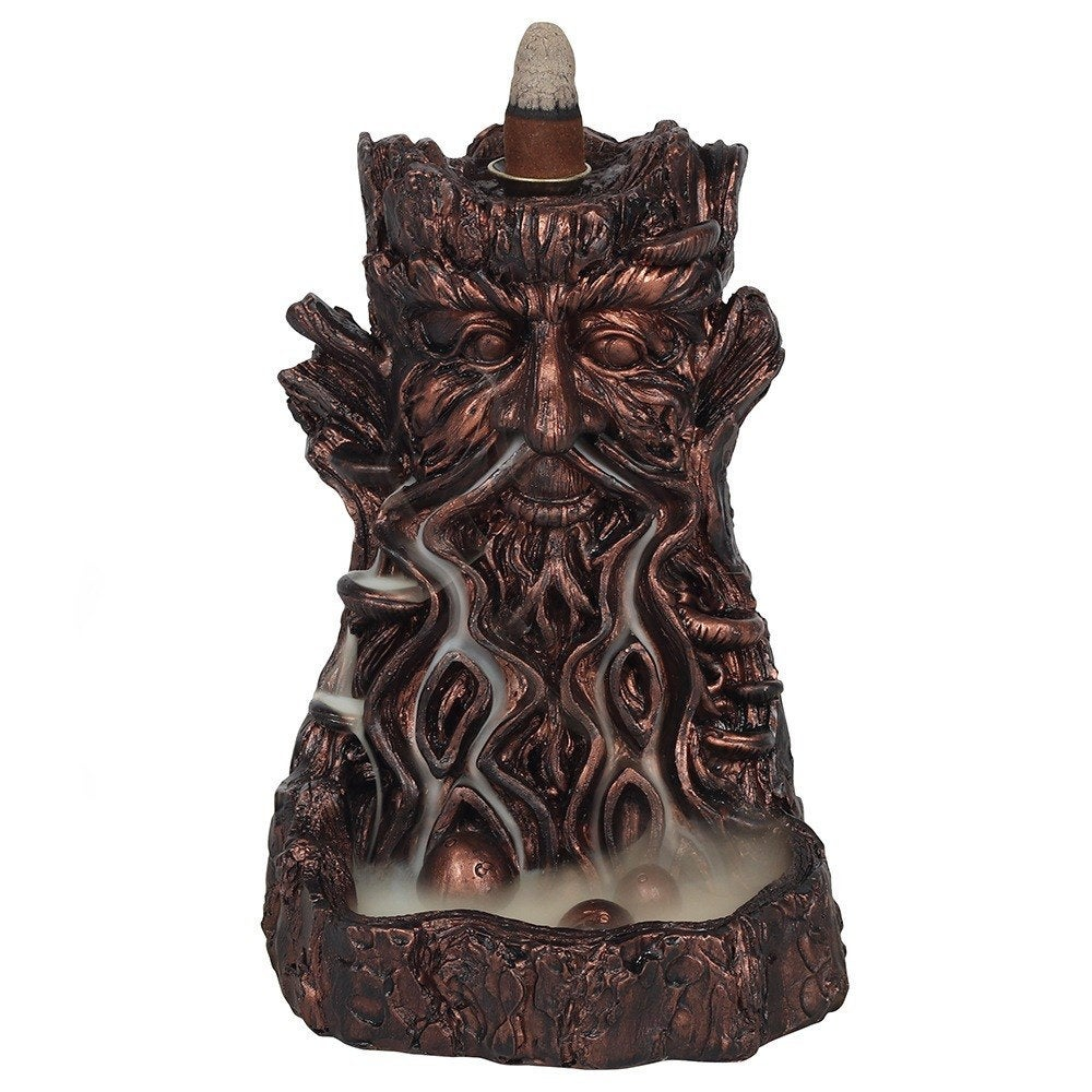 Large Bronze Bearded Tree Green Man Pagan Backflow Incense Burner image 1