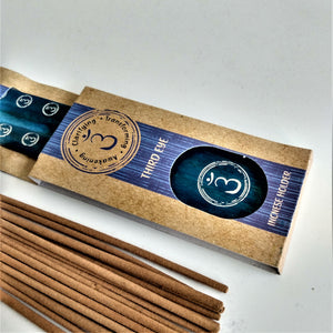 Blue Third Eye Chakra Natural, Eco Friendly Bamboo Incense Holder / Incense Burner Ash Catcher With 20 Free Vegan Friendly Incense Sticks