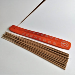 Orange Sacral Chakra Natural, Eco Friendly Bamboo Incense Holder / Incense Burner Ash Catcher With 20 Free Vegan Friendly Incense Sticks