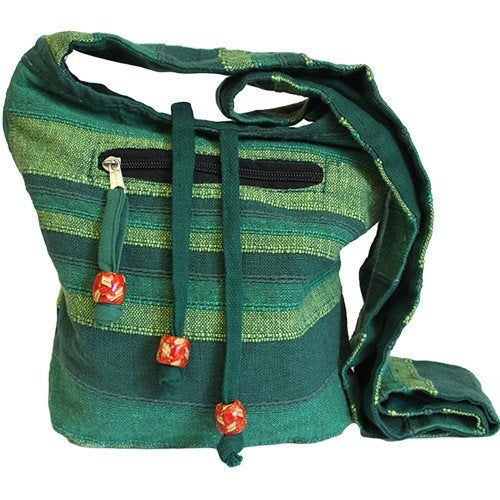 Green Handmade Pure Cotton Sling Shoulder Bag