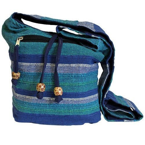 Blue Handmade Pure Cotton Sling Shoulder Bag