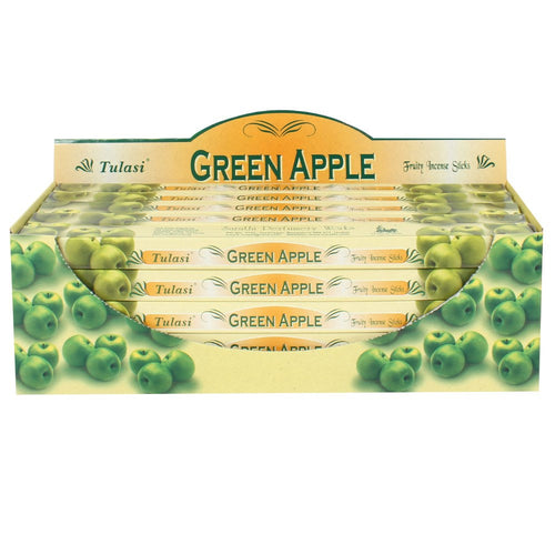 Green Apple 25 Pack Boxed Tulasi Incense, Display Box Gift Set, Natural Eco Incense Sticks, Incense Holder, Incense Burner, Ash Catcher Bulk