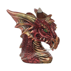 Red Dragon Head Backflow Incense Burner, Back flow Incense Holder. 12 Free Natural, Eco Friendly Vegan Backflow Incense Cones. Dragon Statue