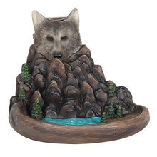 Load image into Gallery viewer, Grey Wolf Cliff Backflow Incense Burner, Back flow Incense Holder. 12 Free Natural, Eco Friendly Vegan Backflow Incense Cones. Dragon Statue
