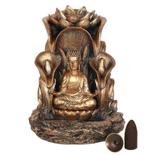 Load image into Gallery viewer, Large Bronze Buddha Statue Backflow Incense Burner Back flow Incense Holder. 12 Free Natural Eco Friendly Vegan Backflow Incense Cones.