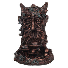 Load image into Gallery viewer, Giant Bronze Tree Green Man Wicca Pagan Backflow Incense Burner. Back flow Incense Holder. 12 Free Natural Eco Vegan Backflow Incense Cones.