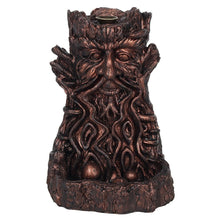 Load image into Gallery viewer, Large Bronze Bearded Tree Green Man Pagan Backflow Incense Burner image 2
