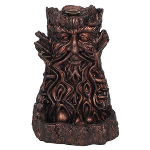 Large Bronze Bearded Tree Green Man Pagan Backflow Incense Burner image 2