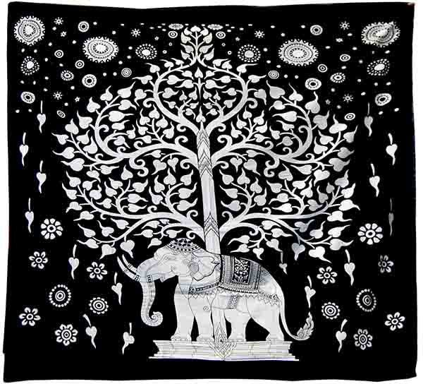 Black & White Elephant and Tree Of Life Pattern Wall Art Hanging