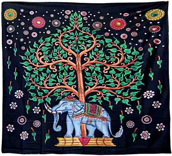 Multicolour Elephant and Tree Of Life Pattern Wall Art Hanging