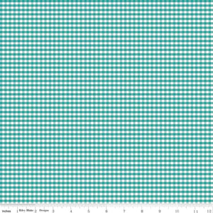 "1/8"" Small Gingham Check Teal C440-26 Teal"