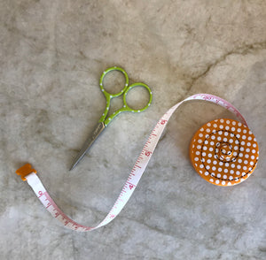 "KimberBell Measuring Tape and Thread 3"" Needlework Scissors"