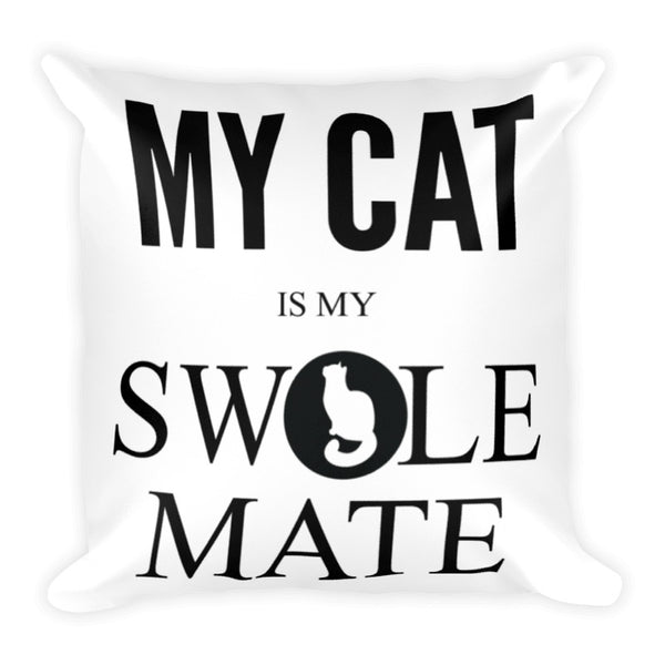 Swole-Mate Cat Throw Pillow Case
