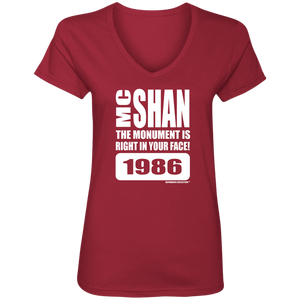 "MC SHAN ""The monument is right in your face"" (Rapamania Collection) oz. T-Shirt Ladies' V-Neck T-Shirt"