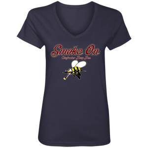 SMOKE ON (Busy Bee Collection) Ladies' V-Neck T-Shirt